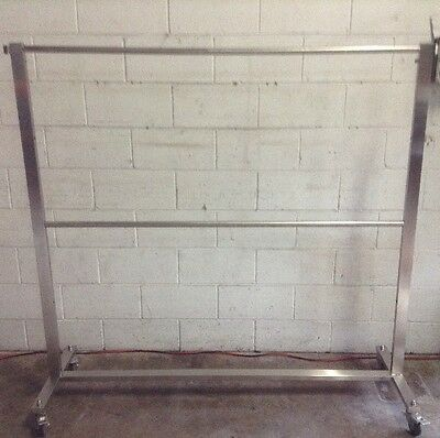 Commercial Stainless Mobile Twin Rail Clothing Garment Transport Straight Rack