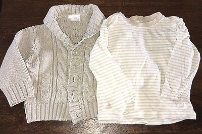 9-12 Months Cardigan And Striped Long Sleeve T Shirt