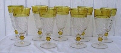 "LOT 8 Duncan & Miller Spiral Flutes #40 YELLOW FLASH Parfait 5.5"" Glass Tumbler"