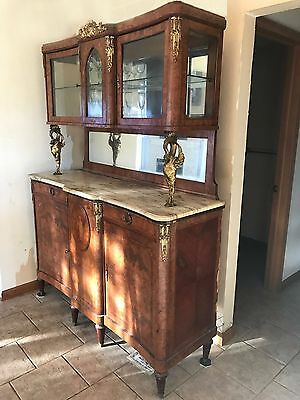 Beautiful  French Antique Pearl Walnut Marble Top Sideboard  Buffet Server Hutch