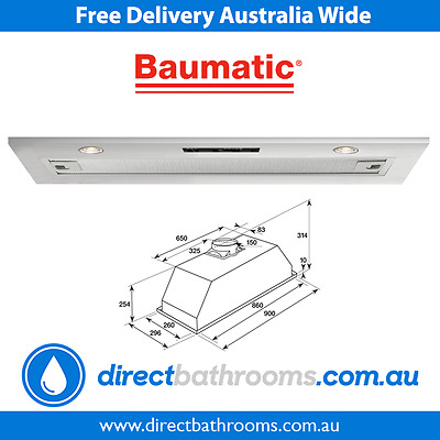 Baumatic GUH90 90CM 900mm Undermount Rangehood Kitchen Extractor Exhaust Hood