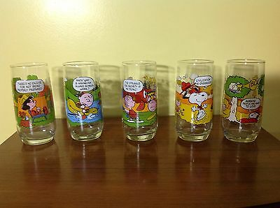 Vintage McDonalds Camp Snoopy Glasses Collection Complete Set of 5 Peanuts