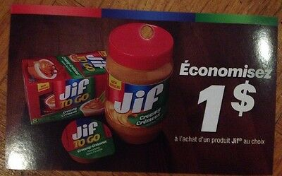 Lot 10 x 1.00$ Jif Products Canada Coupons