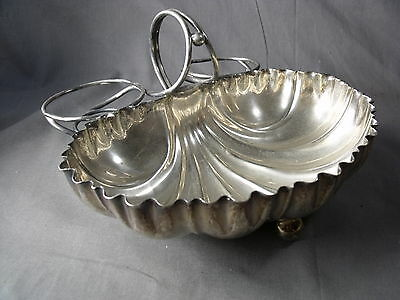 English Silver Plate Bentefink Silver Plate Shell Form Strawberry Dish