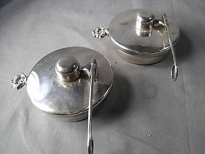 Large Pair Silver Plate Alcohol Burners For Casserole Dishes Etc.