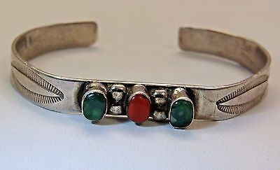 Vintage Navajo Willie Long Sterling Silver Turquoise & Red Coral Cuff Bracelet