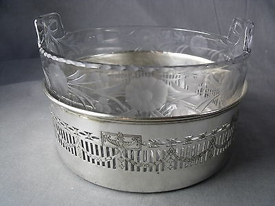 Silver Plate Magnum Wine Coaster With Floral Swags Wheeled Etched Glass Insert