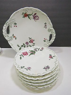 T&V Limoges France Cake Plate & Dessert Plates Pink Roses Purple Flowers Venice