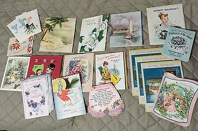 Lot of 19 Vintage Greeting Cards Christmas Birthday Get Well Notes-unused.