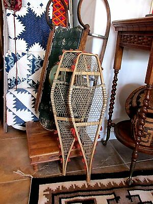 Antique 1880's Native American Indian Small Child's Snowshoes W/Red Pompoms