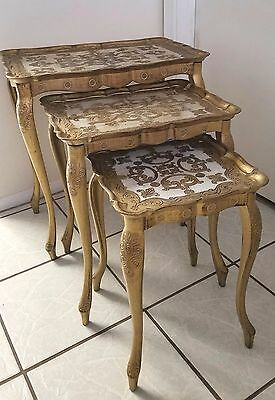 Set of 3 Mid Century Nesting Tables  Florence Italy - Grandmother's Estate