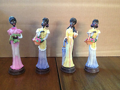 Four Collectible African-American Black Girl Figurine Statues, HTF, Rare