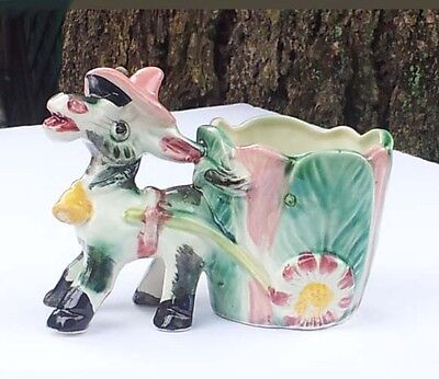 Vintage Colorful Ceramic Donkey pulling Cart with Flower Wheels Planter Pot