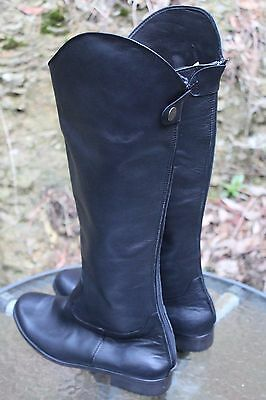 NEW!!!  Black Leather Riding Boots Specially Made Back Zip Size 9
