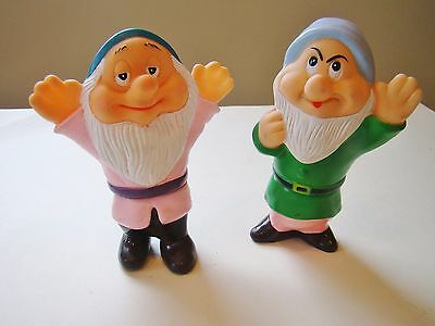 Vintage 2 of the 7 Dwarfs.  Rubber.  Disney -  Made in China