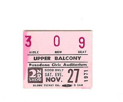1 Concert Ticket Stub - Jesus Christ Superstar Pasadena Civic Audit Nov 27 1971
