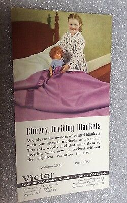 Vintage INK BLOTTER Advertising Victor Cleansing Co Dry Cleaners Rhode Island