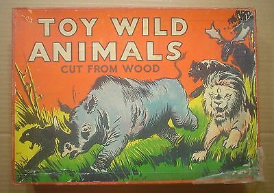 Vintage Toy Wild Animals Cut From Wood in Box ~ Milton Bradley Company
