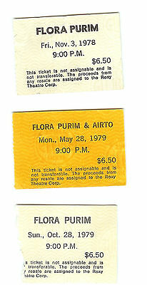 3 Concert Ticket Stubs FLORA PURIM - at The Roxy 1978 and 1979