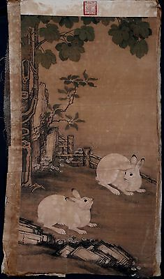 Vintage Old Paper Chinese Hand Painting Rabbits Collectible Marked KK021