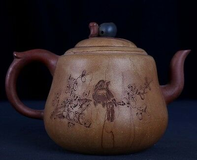 Antique China Yixing Zisha Carved Landscape Purple Sand Teapots Marks PT266