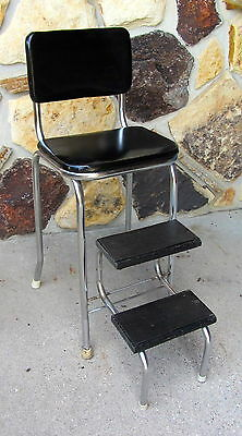 Vtg 50s STEP STOOL Steel CHAIR metal industrial steampunk folding Pull Out BLACK