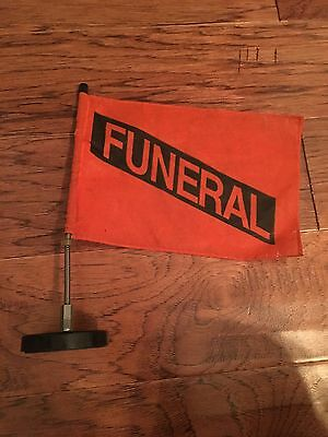 Vintage  FUNERAL Procession Flag With Car magnet Spooky, Hearse Halloween
