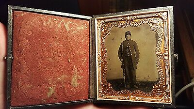 Civil War Tintype of young armed soldier - nice image full case