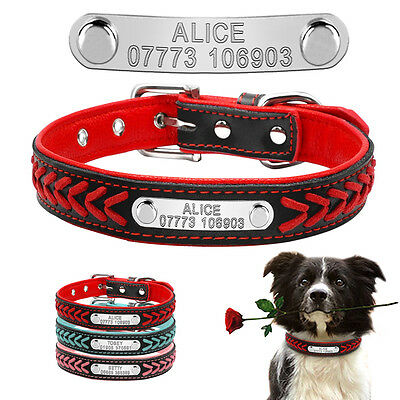 Braided Custom Personalized Dog Collar Leather Padded Dog Pet ID Name Collars