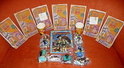 1996 Toy Story Set –7 MIP Figures, Cups, Kids Meal Bags & Burger King Adventures