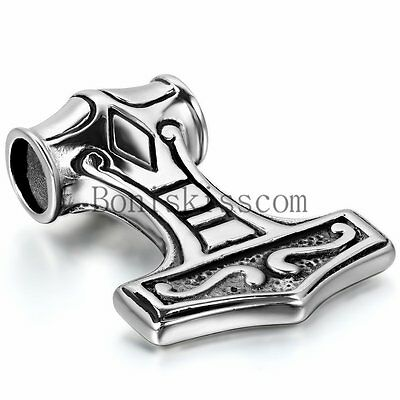 Thor's Hammer Mjolnir Men's Silver Stainless Steel Pendant Necklace 22inch Chain