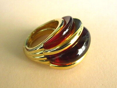 Vintage Kenneth Lane Faux Tortoiseshell Lucite Cocktail Ring, Variable Size 5 to