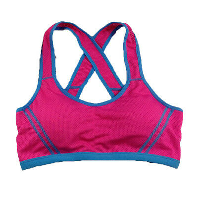 Women Rose Red  Yoga Fitness Sports Bra Stretch Tank Top Seamless Padded Vest