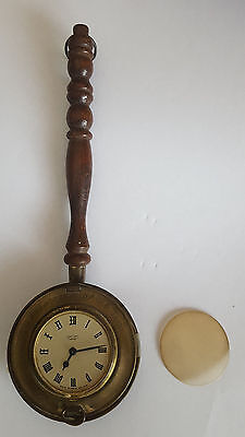 "Vintage ""Smiths Empire"" Copper Bed Warmer Wind-Up Clock, Remembrance Of Old Time"