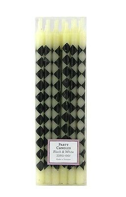 Mackenzie Childs Courtly Check Black & White Set Of 12 Party Candles New Menorah