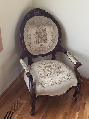 Antique 19th Century French Louis XV Style Needlepoint Fireside Arm Chair