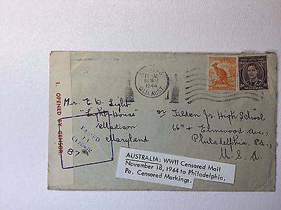 Australia  1944 Censored Mail Cover sc# 166 170 opened by seal passed handstamp