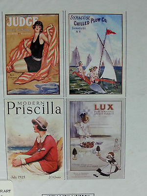 "Set of 4 RARE Very Nice FRENCH POSTERS ART PRINTS Fits 8""x10"" Frame"