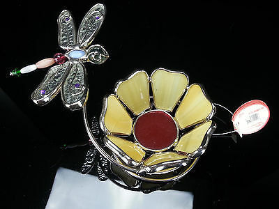 Stained Glass Flower Beaded Dragonfly Bent Wire Spiral Tea Light Candle Holder