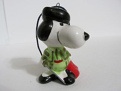 Snoopy Peanuts Charlie Brown Determined Ceramic Christmas Ornament Figure 1977
