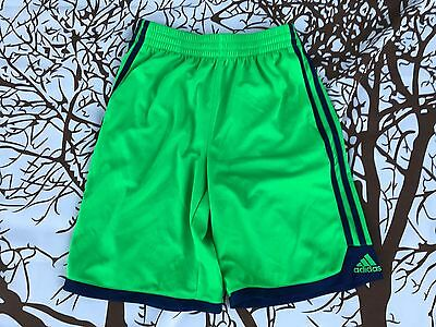 ADIDAS ClimaLite Shorts Youth Boy's Medium 10-12 Green Blue Stripe Athletic