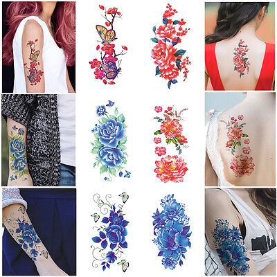 Fashion 3D Flowers Waterproof Temporary Tattoo Stickers Women Beauty Body Art AA