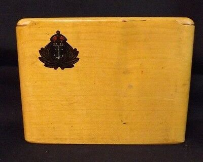 WW2 British Naval Officer's Wooden Cigarette Case (Petty Officer) Sliding Top