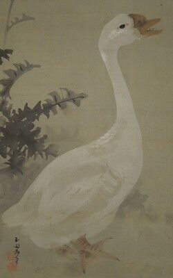 Hanging Scroll Japanese Painting goose 玉田 村瀬 Asian Pic Meiji Japan Duck Old k68
