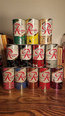 12 Rainier Jubilee 12oz Flat Top Beer Cans Nicer Different colors 1 of ea scene
