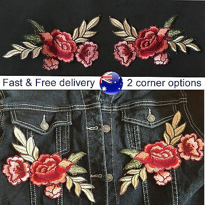 Red flower with leaves corner iron on patch - 2 option combination embroidery