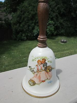 Vintage Norman Rockwell, 1976 LOVE'S HARMONY, Gorham Fine China Collectible Bell