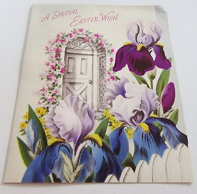 Used Vtg Easter Card 40s Easter Wish w Irises by Front Door w Flowers Around