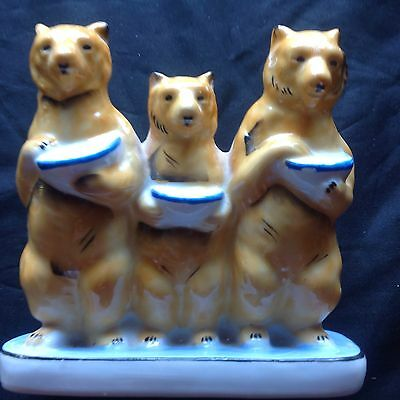 Rare Vintage Unusual  Three Bears Holder, for flowers, toothbrushes, ornament