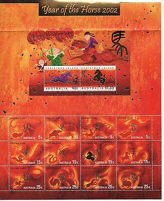 AUSTRALIAN/Year of the Horse 2002,Rooster 2005 & Rabbit 2011 - Miniature Sheets